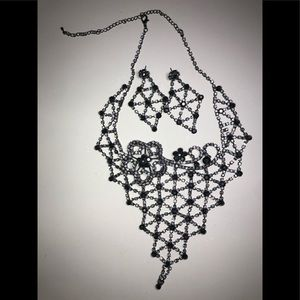 Black necklace and earring set